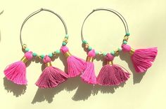Pink and Turquoise Chrysoprase Tassel Hoop Earrings - Sterling Silver Wires by MagicalUniverse on Etsy
