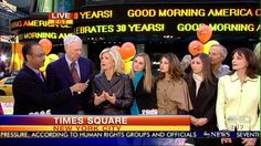 In Times Square celebrating 30th Anniversary of Good Morning America with David Hartman and cast from early years of show.  To the left of me are my daughters Lindsay, Jamie and Sarah who all grew up around the set.
