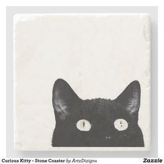 Curious Kitty - Stone Coaster Family Collage, Coaster Design, Stone Coasters, Stylish Home Decor, Present Gift, All Gifts, Personalized Products, Cat Gif, Drink Coasters