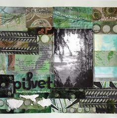 The Clouds Have Changed, a scrapbooking layout using india inks, fiber paste and soft gel medium