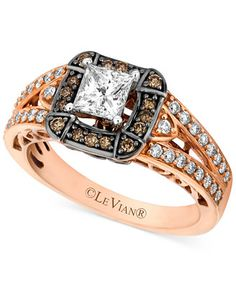 Le Vian Chocolate Diamond (1-1/10 ct. t.w) and White Diamond (7/8 ct. t.w.) Engagement Ring in 14k Rose Gold