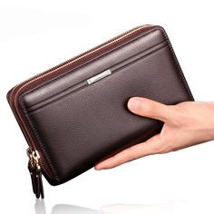 19.79$ Watch here - http://alicsm.shopchina.info/go.php?t=32794204086 - Luxury Genuine Cow Leather Business Wallet Men Zipper Coin Pocket Long Men Gentle Purse Card Holder Male Wallet 19.79$ #aliexpress