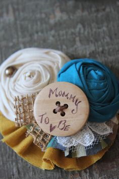 Rustic Country Custom Brooch Flower Burlap Bride to BeButton by dustyLuck  Mommy to be/Bride to be/Grandma to be/ Aunt to be, Bridesmaid, Flower Girl Pins