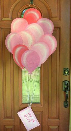 It's a Girl balloon burlap  door hanger and wall hanger. $35.00, via Etsy.