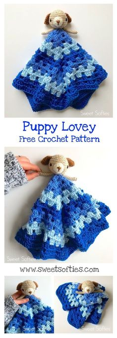 Free crochet pattern puppy dog animal doll lovey security blanket baby kids toy children cute kawaii simple beginner easy diy handmade amigurumi quick fast project sweet softies design
