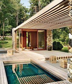 toitures terrasses lattes de bois piscine