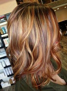 Love this hair color. Auburn and golden blonde foils throughout on… Burnt sienna. Love this hair color. Auburn and golden blonde foils throughout on a brown base with a hint of violet. - Station Of Colored Hairs 2015 Hairstyles, Cool Hairstyles, Hairstyle Ideas, Men's Hairstyle, Wedding Hairstyles, Formal Hairstyles, Summer Hairstyles, Pinterest Hairstyles, Homecoming Hairstyles