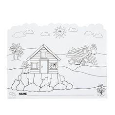Meer dan 1000 afbeeldingen over bijbel n t huis op de for Wise man foolish man coloring page