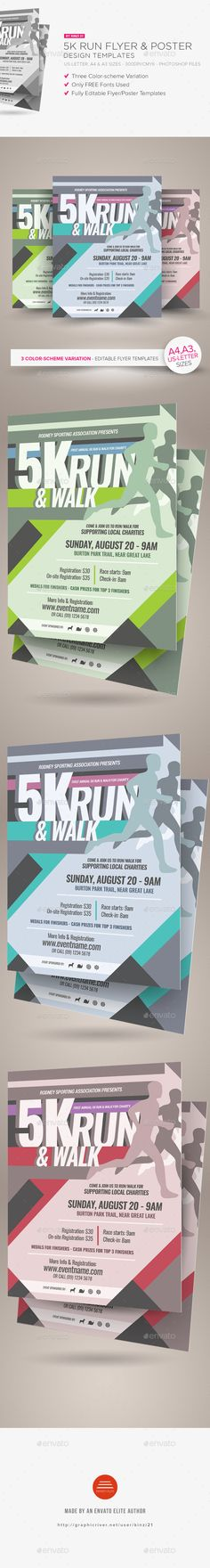5K Run Flyer and Poster Templates  - PSD Template • Only available here ➝ http://graphicriver.net/item/5k-run-flyer-and-poster-templates/16869692?ref=pxcr