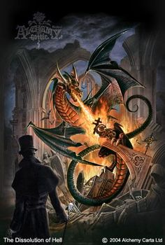 The Dissolution of Hell ~ Alchemy Gothic Fire Dragon, Dragon Art, Gothic Pictures, Alchemy Art, Grim Reaper, Gothic Art, Dark Beauty, Illustrations And Posters, Macabre