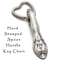 Stamped Spoon Key Chain I Love You Key Chain  by TheSilverwearShop
