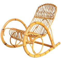 Rattan Rocking Chair in the style of Franco Albini, Italy, circa 1950 Bamboo Furniture, Cool Furniture, Furniture Design, Outdoor Furniture, Rattan Rocking Chair, Plantation Style Homes, Rattan Basket, Baskets, Outdoor Chairs