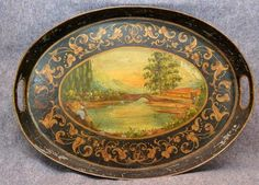 antique 1800s  painted tin tole tray large 24 in. toleware . Antiques Oronoco has numerous large vintage tole trays  Y