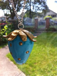 Clay Strawberry Necklace