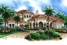 Mediterranean Style House Plan - 4 Beds 4.5 Baths 7948 Sq/Ft Plan #27-561 Exterior - Front Elevation - Houseplans.com