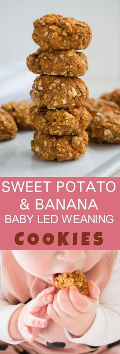 HOMEMADE COOKIES recipe for baby led weaning and soothing a teething baby! These healthy Sweet Potato cookies are made with mashed sweet potato, banana, baby cereal and oatmeal! My favorite part is that these cookies are so delicious we can share them together!