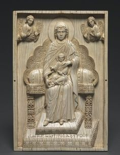 "Ivory Plaque with Enthroned Mother of God (""The Stroganoff Ivory"", 950-1025 Byzantium, Constantinople, Byzantine period, 10th-11th century)"