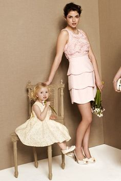Bridesmaids in Pink - pink bridesmaid dress; layered tulip skirt, lace bodice