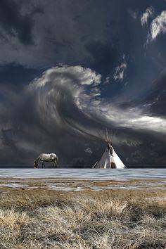 Teepee, horse, Sky