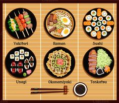 Japanese Cuisine Set Dishes Flat by robuart on Creative Market