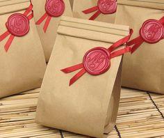 Wedding Favor Bag, 100g Tin Tie Kraft Coffee Bag with Wedding Monogram Wax Seal Ornament Set of 60 on Etsy, $80.00