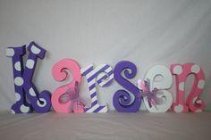 Baby custom wood letters pink purple white por WoodenWondersShop