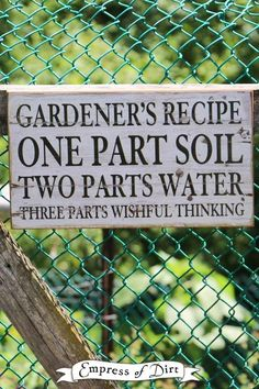 Sign Idea Gallery A collection of favorite garden sign quotes and sayings.A collection of favorite garden sign quotes and sayings. Garden Crafts, Garden Projects, Garden Art, Garden Design, Garden Whimsy, Hydroponic Gardening, Organic Gardening, Gardening Tips, Gardening Supplies