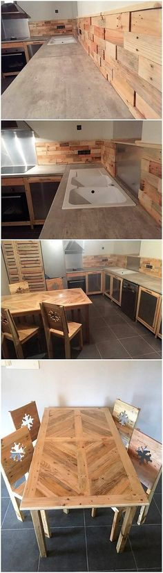 This wood pallet innovative kitchen creation and dining furniture design is quite classy looking. This whole project has been all set best with the light brown wood pallet hues effect that has been bringing much of the attraction in the whole of the modish designing furniture. See the image we shared with you!