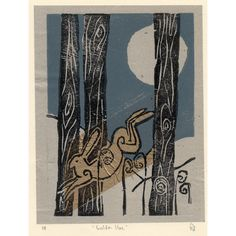 Golden Hare Woodcut Print £15.00 by The Windmill Stump