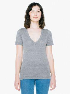 Unisex Tri-Blend Deep V-Neck T-Shirt | American Apparel