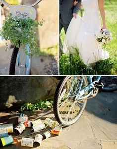 The bride goes away on a bike