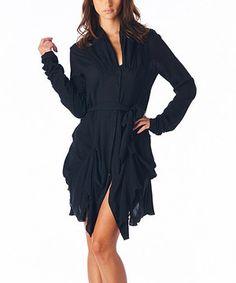 Black Ruched Long-Sleeve Dress by miilla  #zulily #zulilyfinds