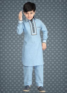latest pakistani Kids Wear blue color in Cotton silk Boys Party Dress, Boys Party Wear, Kids Party Wear Dresses, Kids Wear Boys, Kids Dress Wear, Gents Kurta Design, Boys Kurta Design, Boys Clothes Style, Kids Clothes Boys