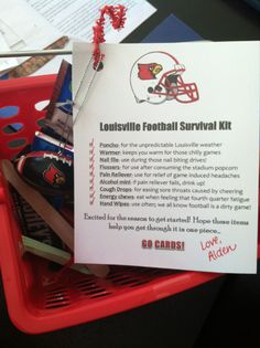 """Football season survival kit I made! Poncho, hand Warmers, candy, Tylenol, nail files for those """"nail biter"""" moments, etc! Go Cards!"""