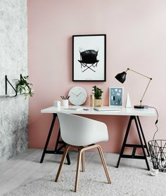 Arbeitszimmer industrieller Stil Wandfarbe Altrosa