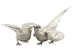 Antique German Silver Table Pheasants