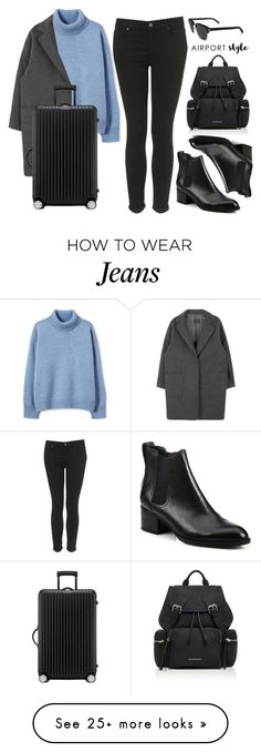 """Wanderlust Wonderful: Airport Style"" by vany-alvarado on Polyvore featuring Topshop, rag & bone, Rimowa, Burberry, Yves Saint Laurent and airportstyle"
