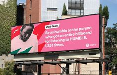 marketing campaign How Spotify Makes Its Data-Driven Outdoor Ads, and Why They Work So Well Adweek Spotify Advertising, Spotify Billboards, Advertising Campaign, Creative Advertising, Advertising Design, Copy Ads, Experiential Marketing, Social Marketing, Billboard Design