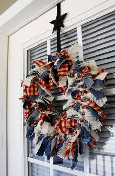 Patriotic Wreath Made From Scrap Denim, Burlap and Check Fabric!!! Bebe'!!! Cute Red, White and Blue Denim and Red Gingham Check Wreath!!! Perfect for The Fourth Of July!!!