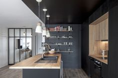 """When the kitchen is stylish, comfortable and expressive, then it can """"make"""" the interior of any apartment or house. Take a look at this beautiful modern ✌Pufikhomes - source of home inspiration Kitchen Pendant Lighting, Kitchen Pendants, Pendant Lights, Cosy Kitchen, Kitchen Dining, Dining Room, Layout Design, Appartement Design, Backyard Seating"""