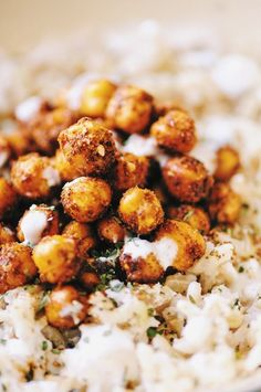 Coconut Ginger Rice with Spicy Turkish Roasted Chickpeas & a Garlic Yogurt Drizzle