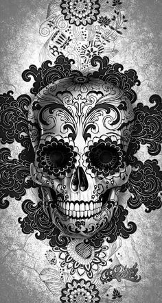 Digoil renowned floral sugar skull red Your canvas art will be stretched over a wooden frame. Totenkopf Tattoos, Sugar Skull Tattoos, Red Tattoos, Mexican Skull Tattoos, Celtic Tattoos, Day Of The Dead Skull, Skull Wallpaper, Candy Skulls, Day Of Dead