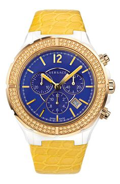 Versace 'DV One Cruise' Topaz Bezel Watch, 43mm available at #Nordstrom