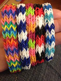 Flat chevron rainbow loom bracelets.