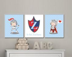 Baby Boy Nursery Art Prints. Knight Nursery Art. Personsalized Baby Name Prints. Suits Boys Blue Nursery Decor. Custom Color - S-262