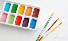 Mix up your own Homemade water colors with baking soda, corn syrup, food coloring and vinegar. What fun!