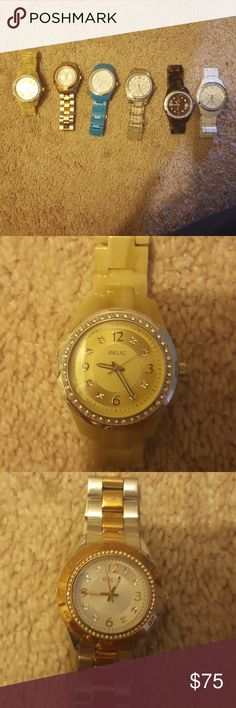 LOT OF WOMEN'S RELIC WATCHES Bundle or can purchase separately! Women's RELIC WATCHES. All used but good condition and all need new batteries **All are still available except for the clear watch *** Relic Accessories Watches
