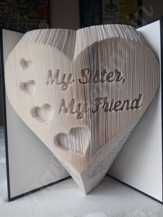 Create your own piece of stunning Book Art with this My Sister My Friend Combi Cut and Fold Book Folding Pattern. Book Page Art, Book Pages, Book Folding Patterns Free, Recycled Books, Recycled Clothing, Recycled Fashion, Cut And Fold Books, Old Book Crafts, Sisters Book