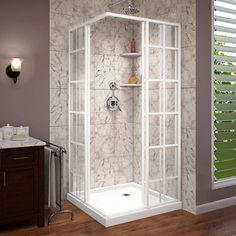 The DreamLine French Corner sliding shower enclosure is a perfect complement to a modern industrial bathroom style with a European vibe. The satin black window pane design and hardware finish will add Corner Shower Kits, Corner Shower Enclosures, Corner Showers, Layout Design, Douche Design, Small Showers, White Shower, Walk In Shower Designs, Mid-century Modern