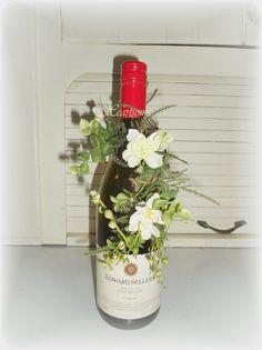 Flower garland wine bottle gift hair wedding by HeartsomeHalos